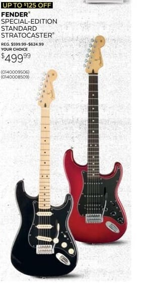 Guitar Center Black Friday: Fender Special Edition Standard Stratocaster Electric Guitar in Black or Red for $499.99