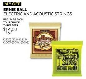 Guitar Center Black Friday: (3) Ernie Ball 2003 Earthwood 80/20 Bronze Extra Light, Medium or Medium Light Acoustic Strings for $10.00