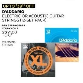 Guitar Center Black Friday: 12-Pack D'Addario EJ16-12P Phosphor Bronze Light Acoustic Guitar String for $30.00