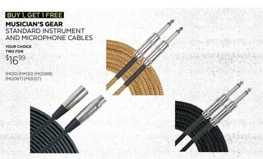 Guitar Center Black Friday: (2) Select Styles: Musician's Gear Standard Instrument Cables for $16.99