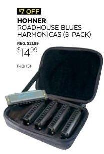 Guitar Center Black Friday: Hohner Roadhouse Blues Harmonicas 5-Pack w/Custom Case for $14.99