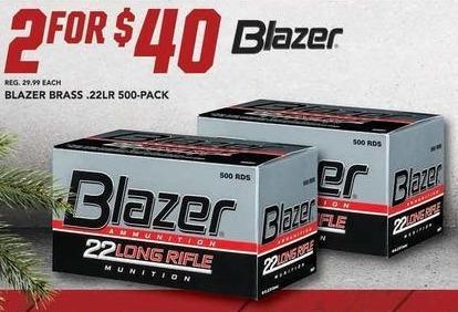 Field & Stream Black Friday: (2) 500-Pack Blazer Brass .22LR Bullets for $40.00