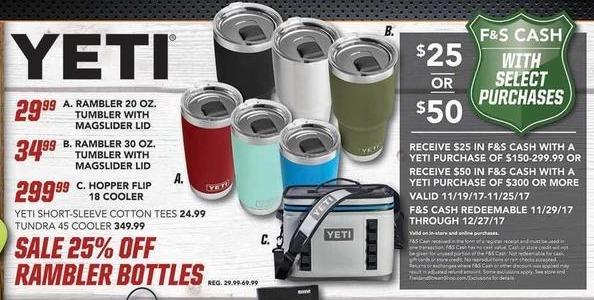 Field & Stream Black Friday: Entire Stock Yeti Rambler Bottles - 25% Off
