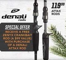 Field & Stream Black Friday: Denali Attax Rods + Zenyx Crankbait Rod for $119.98