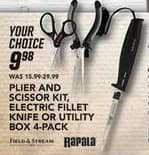 Field & Stream Black Friday: Select Rapala Tools: Plier and Scissor Kit, Electric Fillet and More for $9.99