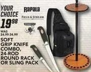 Field & Stream Black Friday: Select Rapala Tools: Soft Grip Knife Combo, Sling Pack and More for $19.98