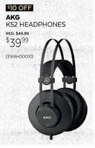 Guitar Center Black Friday: AKG K52 Headphones for $39.99