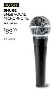 Guitar Center Black Friday: Shure SM58 Dynamic Handheld Vocal Microphone for $89.99
