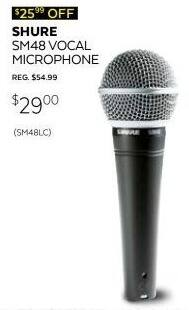 Guitar Center Black Friday: Shure SM48-LC Vocal Microphone for $29.00