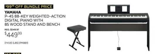 Guitar Center Black Friday: Yamaha P-45 88-Key Weighted Action Digital Piano for $449.99