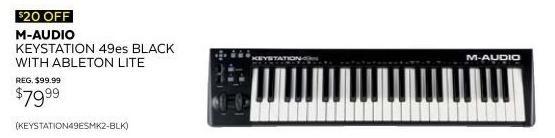 Guitar Center Black Friday: M-Audio Keystation 49ES Black with Ableton Lite for $79.99