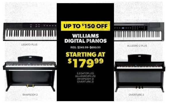 Guitar Center Black Friday: Williams Rhapsody 2 88-Key Console Digital Piano for $399.99
