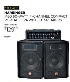 Guitar Center Black Friday: Harbinger M60 60-Watt, 4-Channel Compact Portable PA with 10 in. Speakers for $129.99