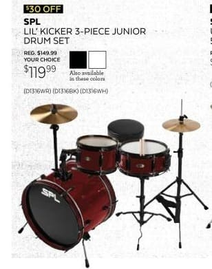 Guitar Center Black Friday: Sound Percussion Labs Lil Kicker - 3 Piece Jr Drum Set w/Throne for $119.99