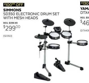 Guitar Center Black Friday: Simmons SD350 Electronic Drum Kit w/Mesh Pads for $299.00