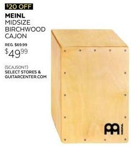 Guitar Center Black Friday: Meinl Midsize Birchwood Cajon Hand Drum for $49.99