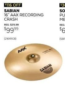 Guitar Center Black Friday: Sabian AAX 16 in. Recording Crash Cymbal for $99.99