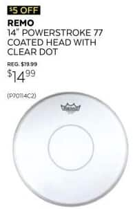 "Guitar Center Black Friday: Remo Powerstroke 77 14"" Coated Snare Drum Batter Head for $14.99"