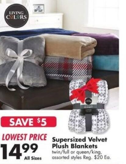 Big Lots Black Friday: Supersized Velvet Plush Blankets for $14.99