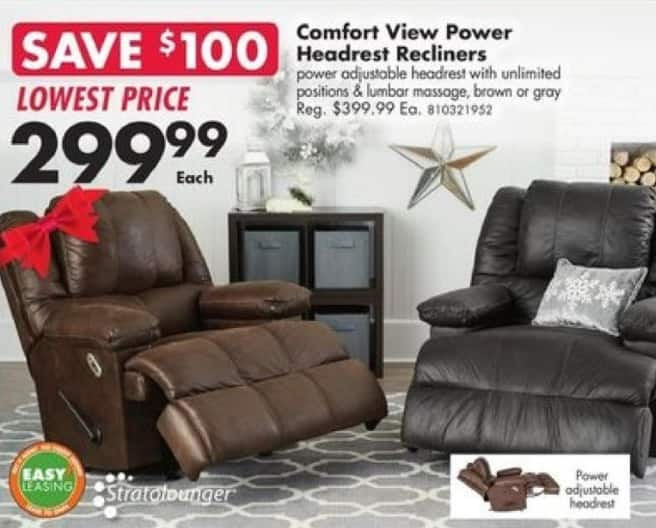 Big Lots Black Friday: Comfort View Power Headrest Recliners for $299.99