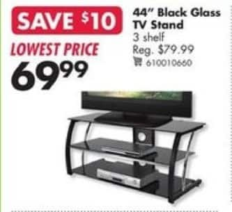 "Big Lots Black Friday: 44"" Black Glass TV Stand for $69.99"