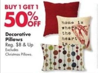 Big Lots Black Friday: Select Styles: Decorative Pillows - B1G1 50% Off