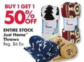 Big Lots Black Friday: Entire Stock Just Home Throws - B1G1 50% Off