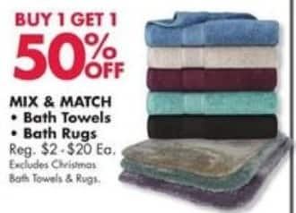 Big Lots Black Friday: Mix & Match Bath Towels and Rugs - B1G1 50% Off