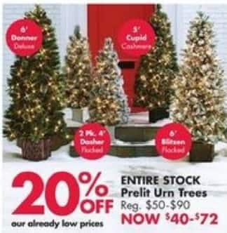 Big Lots Black Friday: Entire Stock Prelit Urn Trees for $40.00 - $72.00