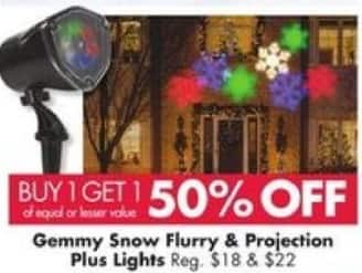 Big Lots Black Friday: Gemmy Snow Flurry and Projection Plus Lights - B1G1 50% Off