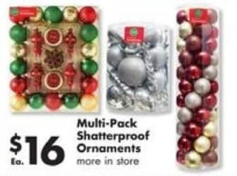 Big Lots Black Friday: Multi-Pack Shatterproof Ornaments for $16.00
