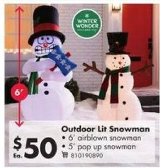 Big Lots Black Friday: Outdoor Lit Snowman for $50.00