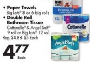 Big Lots Black Friday: Select Paper Towels or Double Roll Bathroom Tissue for $4.77