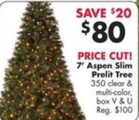 Big Lots Black Friday: 7' Aspen Slim Prelit Tree for $80.00