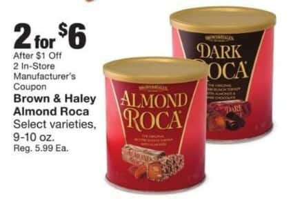 Fred Meyer Black Friday: (2) Brown & Haley Almond Roca w/Coupon for $6.00