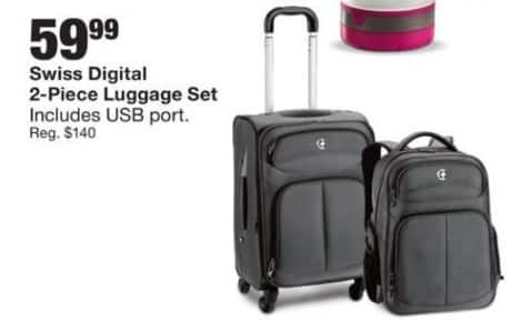 Fred Meyer Black Friday: Swiss Digital 2-Piece Luggage Set w/USB Port for $59.99