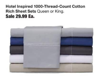 Fred Meyer Black Friday: Hotel Inspired 1000-Thread-Count Cotton Rich Sheet Set for $29.99