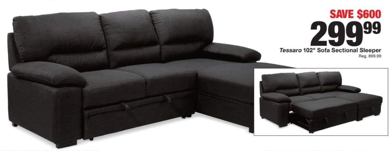 "Fred Meyer Black Friday Tessaro 102"" Sofa Sectional Sleeper for"