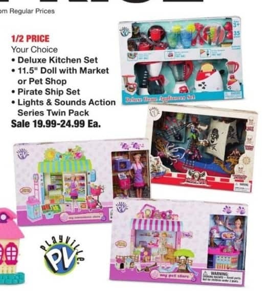 Fred Meyer Black Friday: Select Playville Toys: Deluxe Kitchen Set, Pirate Ship Set and More for $19.99 - $24.99