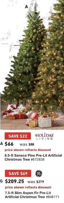 Lowe's Black Friday: 7.5 ft. GE Slim Aspen Fir Pre-Lit Artificial Christmas Tree for $209.25
