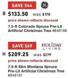 Lowe's Black Friday: 7.5 ft. GE Colorado Spruce Pre-Lit Artificial Christmas Tree for $133.50