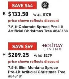 Lowe's Black Friday: 7.5 ft. Holiday Living Slim Montana Spruce Pre-Lit Artificial Christmas Tree for $209.25