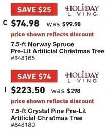 Lowe's Black Friday: 7.5 ft. Holiday Living Norway Spruce Pre-Lit Artificial Christmas Tree for $74.98