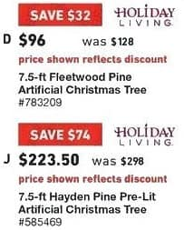 Lowe's Black Friday: 7.5 ft. Holiday Living Fleetwood Pine Artificial Christmas Tree for $96.00