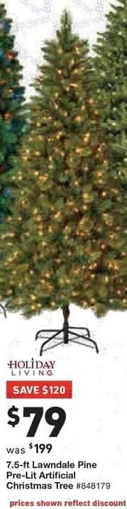 Lowe's Black Friday: 7.5 ft. Holiday Living Lawndale Pine Pre-Lit Artificial Christmas Tree for $79.00