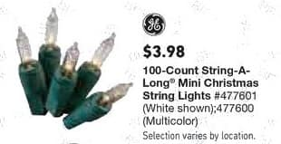 Lowe's Black Friday: GE 100-Count String-A-Long Mini Christmas String Lights for $3.98
