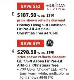 Lowe's Black Friday: 9 ft. Holiday Living Robinson Fir Pre-Lit Artificial Christmas Tree for $187.50