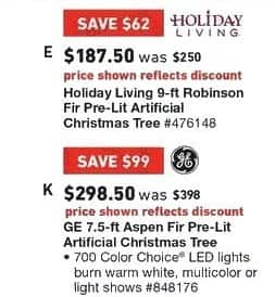 Lowe's Black Friday: 7.5 ft. General Electric Aspen Fir Pre-Lit Artificial Christmas Tree for $298.50