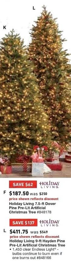 Lowe's Black Friday: 7.5 ft. Holiday Living Dover Pine Pre-Lit Artificial Christmas Tree for $187.50