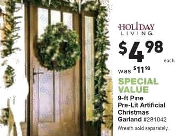 Lowe's Black Friday: 9 ft. Holiday Living Pre-Lit Artificial Christmas Garland for $4.98